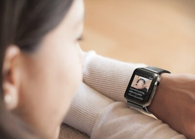 Lady using the pregnancy app on iWatch
